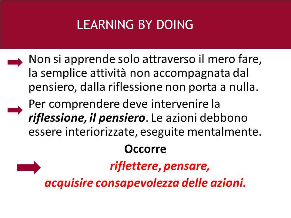 Non si apprende solo attraverso il mero fare, la semplice attività non accompagnata dal pensiero, dalla riflessione non porta a nulla.