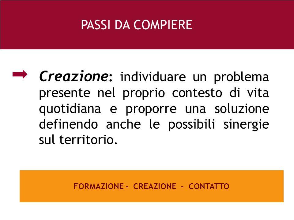26 e Creazione : individuare un problema presente nel proprio contesto di vita quotidiana e proporre una soluzione definendo anche le possibili sinergie sul territorio.