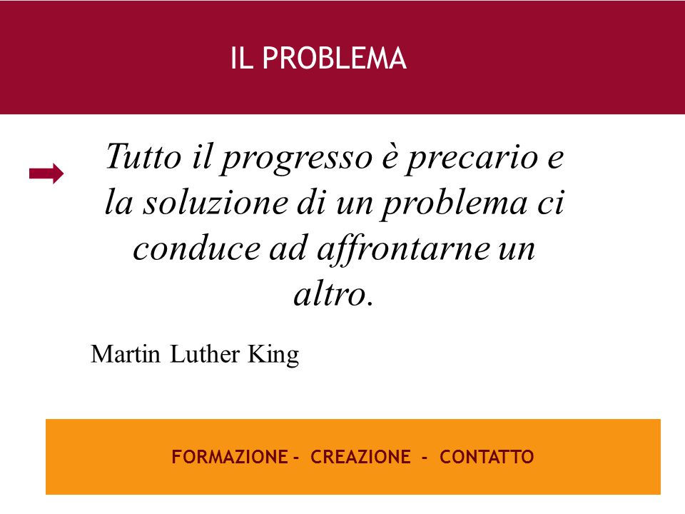 26 e FORMAZIONE - CREAZIONE - CONTATTO IL PROBLEMA Tutto il progresso è precario e la soluzione di un problema ci conduce ad affrontarne un altro. Mar