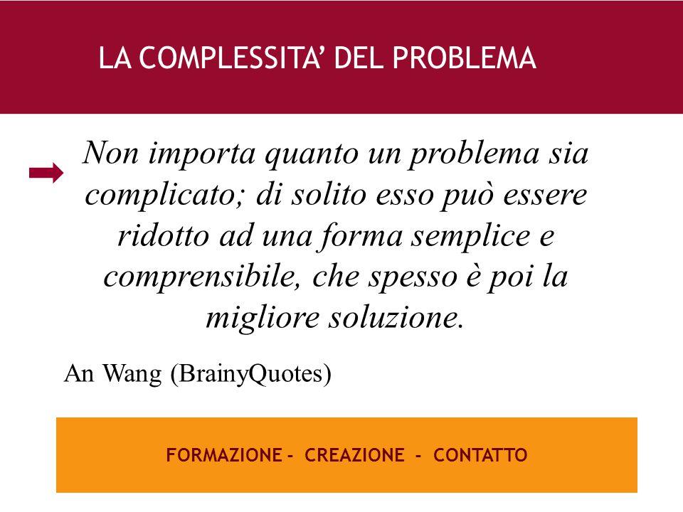 26 e FORMAZIONE - CREAZIONE - CONTATTO LA COMPLESSITA' DEL PROBLEMA Non importa quanto un problema sia complicato; di solito esso può essere ridotto ad una forma semplice e comprensibile, che spesso è poi la migliore soluzione.