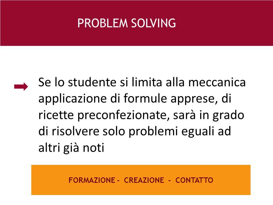 26 e FORMAZIONE - CREAZIONE - CONTATTO PROBLEM SOLVING Se lo studente si limita alla meccanica applicazione di formule apprese, di ricette preconfezionate, sarà in grado di risolvere solo problemi eguali ad altri già noti