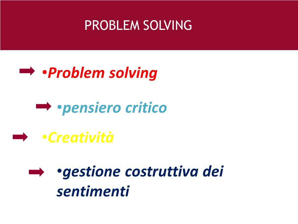 26 e PROBLEM SOLVING Problem solving pensiero critico Creatività gestione costruttiva dei sentimenti