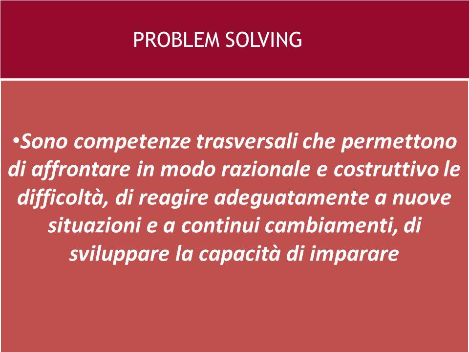 26 e PROBLEM SOLVING Sono competenze trasversali che permettono di affrontare in modo razionale e costruttivo le difficoltà, di reagire adeguatamente a nuove situazioni e a continui cambiamenti, di sviluppare la capacità di imparare
