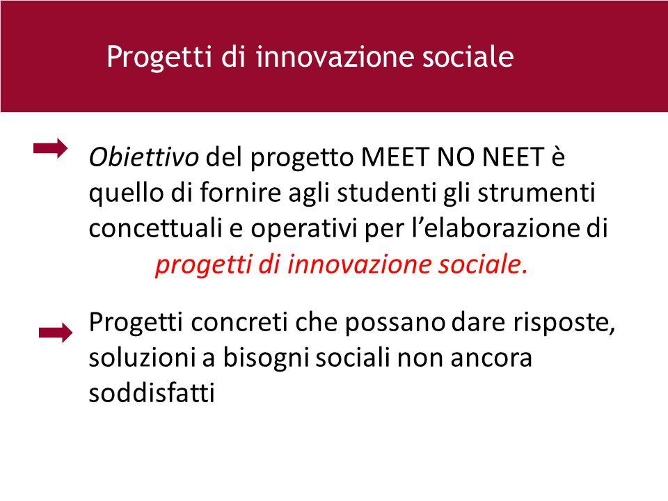 26 e Progetti di innovazione sociale Obiettivo del progetto MEET NO NEET è quello di fornire agli studenti gli strumenti concettuali e operativi per l'elaborazione di progetti di innovazione sociale.