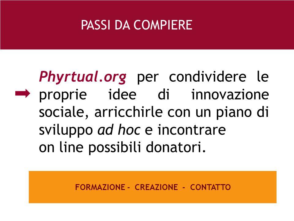26 e Phyrtual.org per condividere le proprie idee di innovazione sociale, arricchirle con un piano di sviluppo ad hoc e incontrare on line possibili donatori.