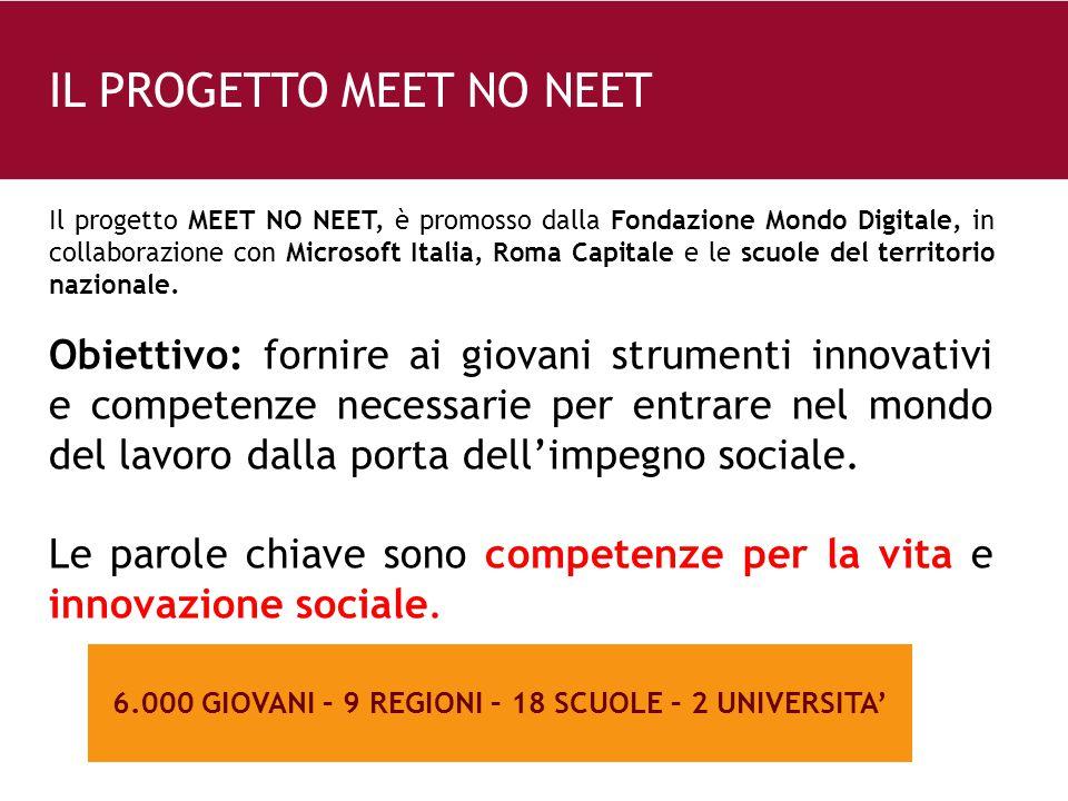 26 e 6.000 GIOVANI – 9 REGIONI – 18 SCUOLE – 2 UNIVERSITA' Il progetto MEET NO NEET, è promosso dalla Fondazione Mondo Digitale, in collaborazione con Microsoft Italia, Roma Capitale e le scuole del territorio nazionale.