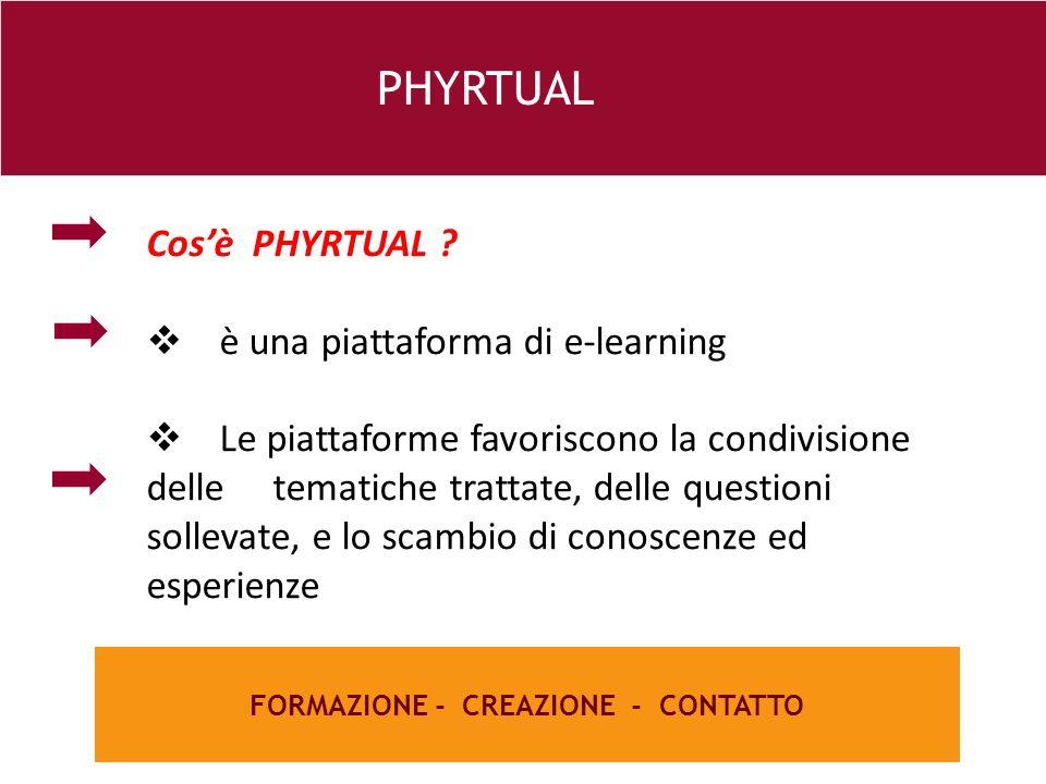 26 e FORMAZIONE - CREAZIONE - CONTATTO PHYRTUAL Cos'è PHYRTUAL ?  è una piattaforma di e-learning  Le piattaforme favoriscono la condivisione delle