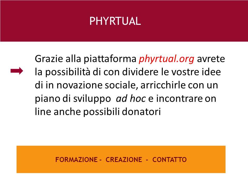 26 e FORMAZIONE - CREAZIONE - CONTATTO PHYRTUAL Grazie alla piattaforma phyrtual.org avrete la possibilità di con dividere le vostre idee di in novazione sociale, arricchirle con un piano di sviluppo ad hoc e incontrare on line anche possibili donatori