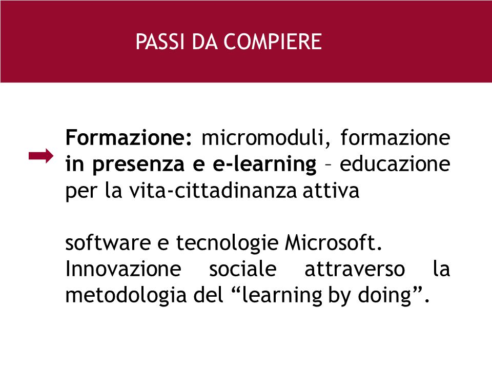 26 e Formazione: micromoduli, formazione in presenza e e-learning – educazione per la vita-cittadinanza attiva software e tecnologie Microsoft. Innova