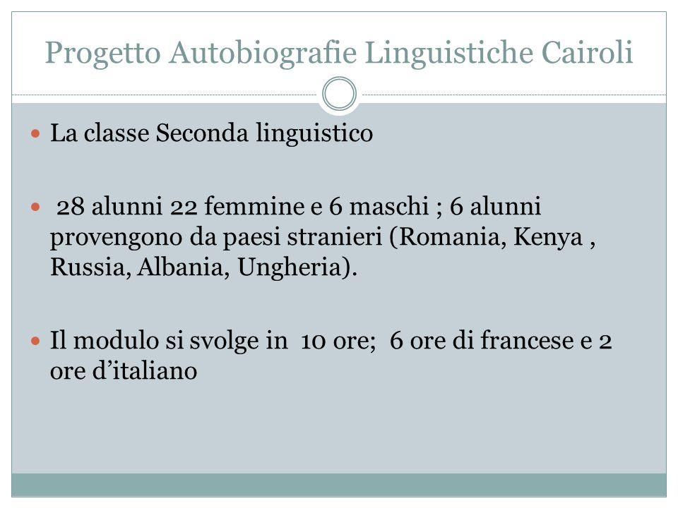 Progetto Autobiografie Linguistiche Cairoli La classe Seconda linguistico 28 alunni 22 femmine e 6 maschi ; 6 alunni provengono da paesi stranieri (Romania, Kenya, Russia, Albania, Ungheria).