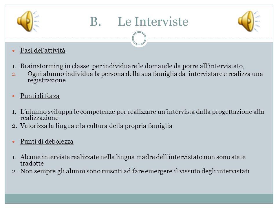 B.Le Interviste Fasi del'attività 1.Brainstorming in classe per individuare le domande da porre all'intervistato, 2.