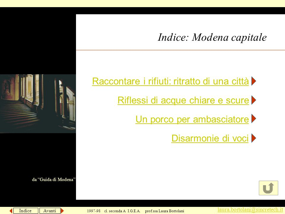 Indice Avanti laura.bortolani@sincretech.it 1997-98 cl.
