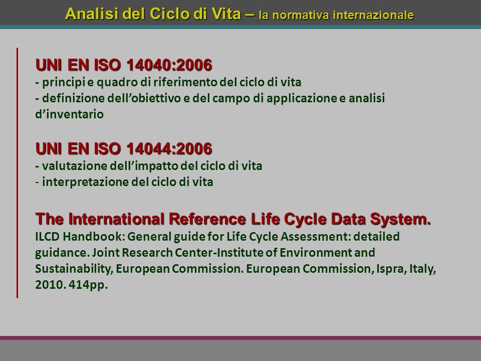 Analisi del Ciclo di Vita – la normativa internazionale UNI EN ISO 14040:2006 - principi e quadro di riferimento del ciclo di vita - definizione dell'