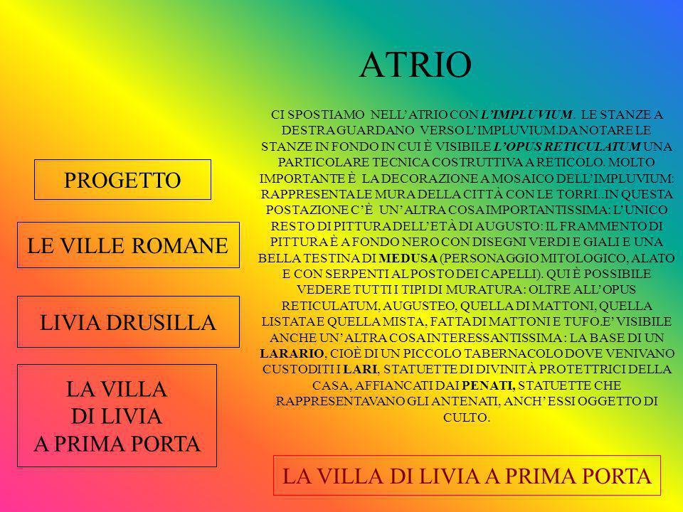 PROGETTO INGRESSO LE VILLE ROMANE LIVIA DRUSILLA LA VILLA DI LIVIA A PRIMA PORTA CI TROVIAMO ALLA PORTA DI INGRESSO DELLA VILLA DI LIVIA.
