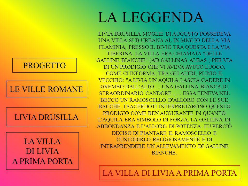 PROGETTO LE VILLE ROMANE LIVIA DRUSILLA LA VILLA DI LIVIA A PRIMA PORTA LA VILLA DI LIVIA A PRIMA PORTA NELLA PRIMA STANZA C'E' UN DOPPIO MOSAICO; ANCHE QUI QUELLO IN SUPERFICIE E' DEL PERIODO AUGUSTEO MENTRE QUELLO SOTTOSTANTE E' DEL II SECOLO D.