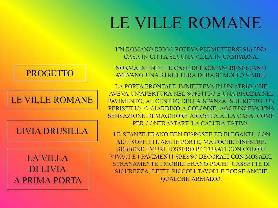 LE VILLE ROMANE LIVIA DRUSILLA LA VILLA DI LIVIA A PRIMA PORTA PROGETTO LE VILLE ROMANE UN ROMANO RICCO POTEVA PERMETTERSI SIA UNA CASA IN CITTÀ SIA UNA VILLA IN CAMPAGNA.