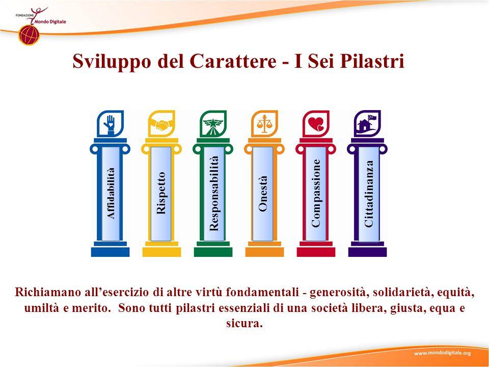 Sviluppo del Carattere - I Sei Pilastri Affidabilità Rispetto Responsabilità Onestà Compassione Cittadinanza Richiamano all'esercizio di altre virtù f