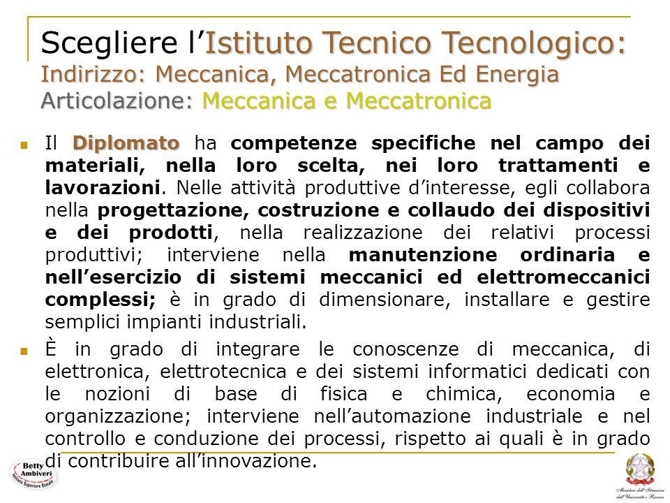 12 Istituto Tecnico Tecnologico: Indirizzo: Meccanica, Meccatronica Ed Energia Articolazione: Meccanica e Meccatronica Scegliere l'Istituto Tecnico Te