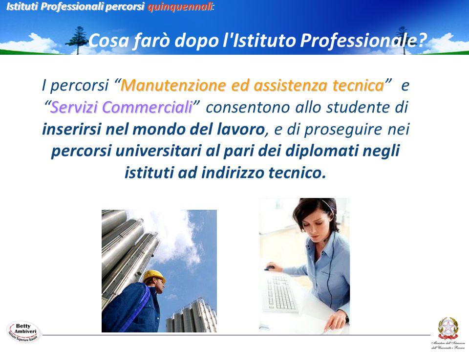 """Manutenzione ed assistenza tecnica Servizi Commerciali I percorsi """"Manutenzione ed assistenza tecnica"""" e """"Servizi Commerciali"""" consentono allo student"""