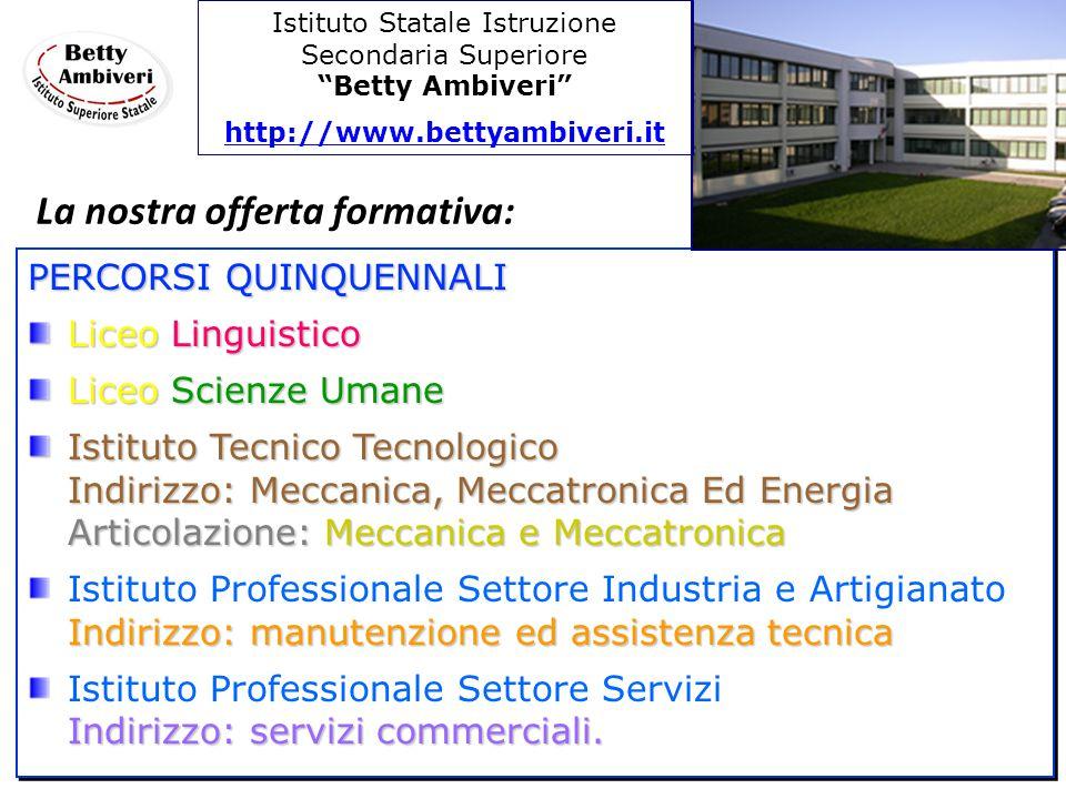 PERCORSI QUINQUENNALI Liceo Linguistico Liceo Scienze Umane Istituto Tecnico Tecnologico Indirizzo: Meccanica, Meccatronica Ed Energia Articolazione: