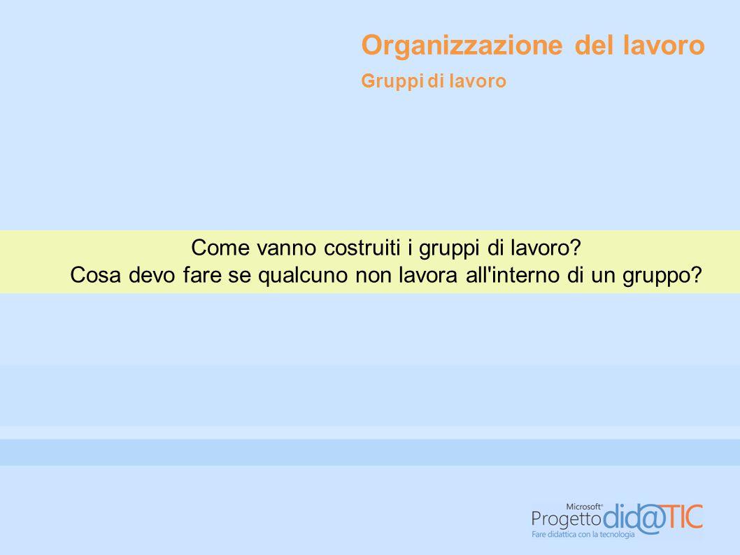Organizzazione del lavoro Come vanno costruiti i gruppi di lavoro.