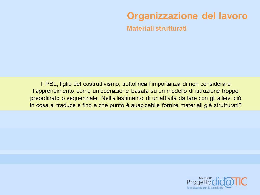 Organizzazione del lavoro Il PBL, figlio del costruttivismo, sottolinea l'importanza di non considerare l'apprendimento come un'operazione basata su un modello di istruzione troppo preordinato o sequenziale.