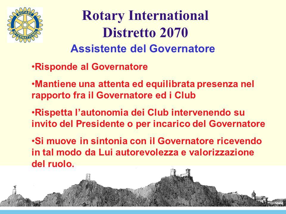 Rotary International Distretto 2070 Assistente del Governatore Risponde al Governatore Mantiene una attenta ed equilibrata presenza nel rapporto fra i