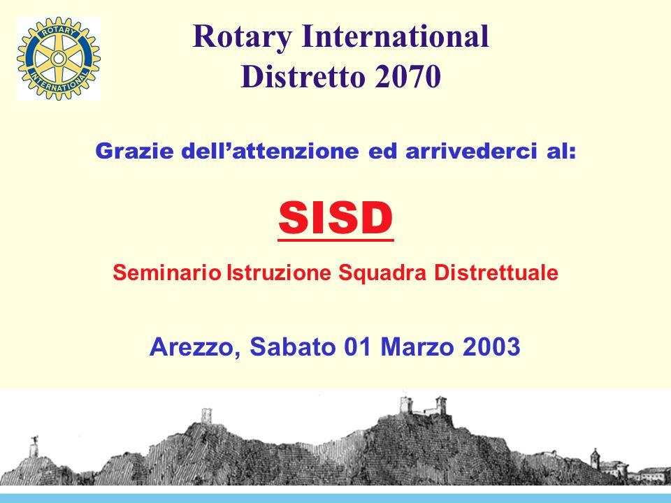 Rotary International Distretto 2070 Grazie dell'attenzione ed arrivederci al: SISD Seminario Istruzione Squadra Distrettuale Arezzo, Sabato 01 Marzo 2003