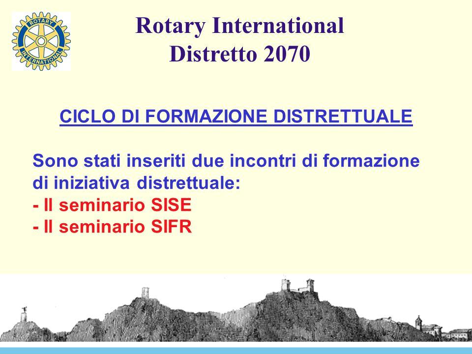 Rotary International Distretto 2070 CICLO DI FORMAZIONE DISTRETTUALE Sono stati inseriti due incontri di formazione di iniziativa distrettuale: - Il s
