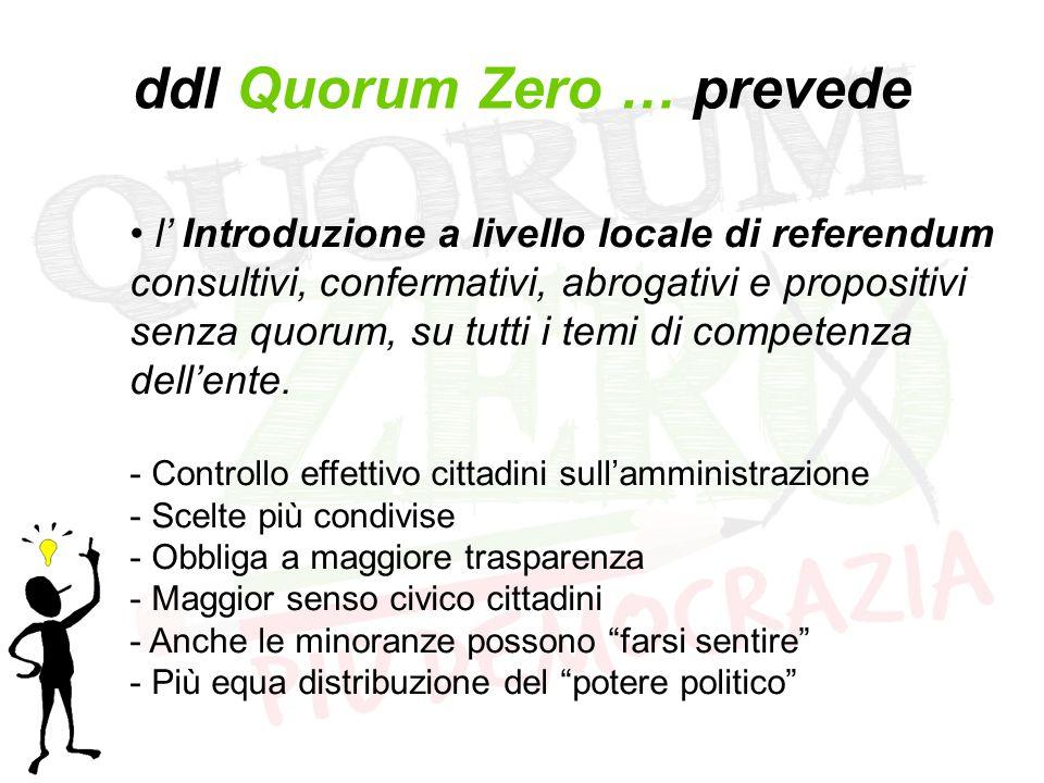 ddl Quorum Zero … prevede l' Introduzione a livello locale di referendum consultivi, confermativi, abrogativi e propositivi senza quorum, su tutti i temi di competenza dell'ente.