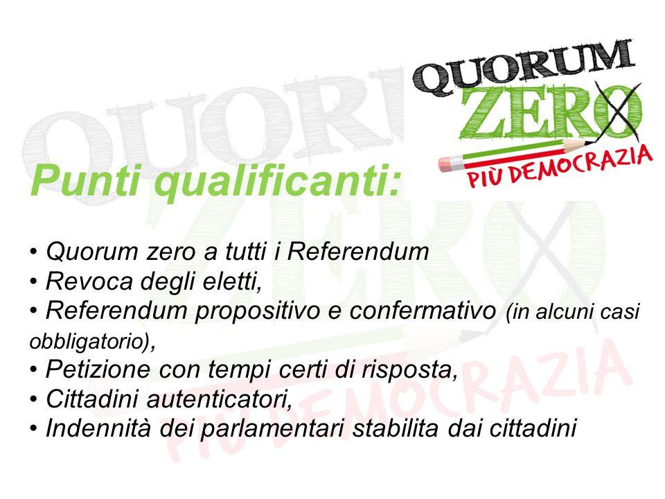 Punti qualificanti: Quorum zero a tutti i Referendum Revoca degli eletti, Referendum propositivo e confermativo (in alcuni casi obbligatorio), Petizione con tempi certi di risposta, Cittadini autenticatori, Indennità dei parlamentari stabilita dai cittadini