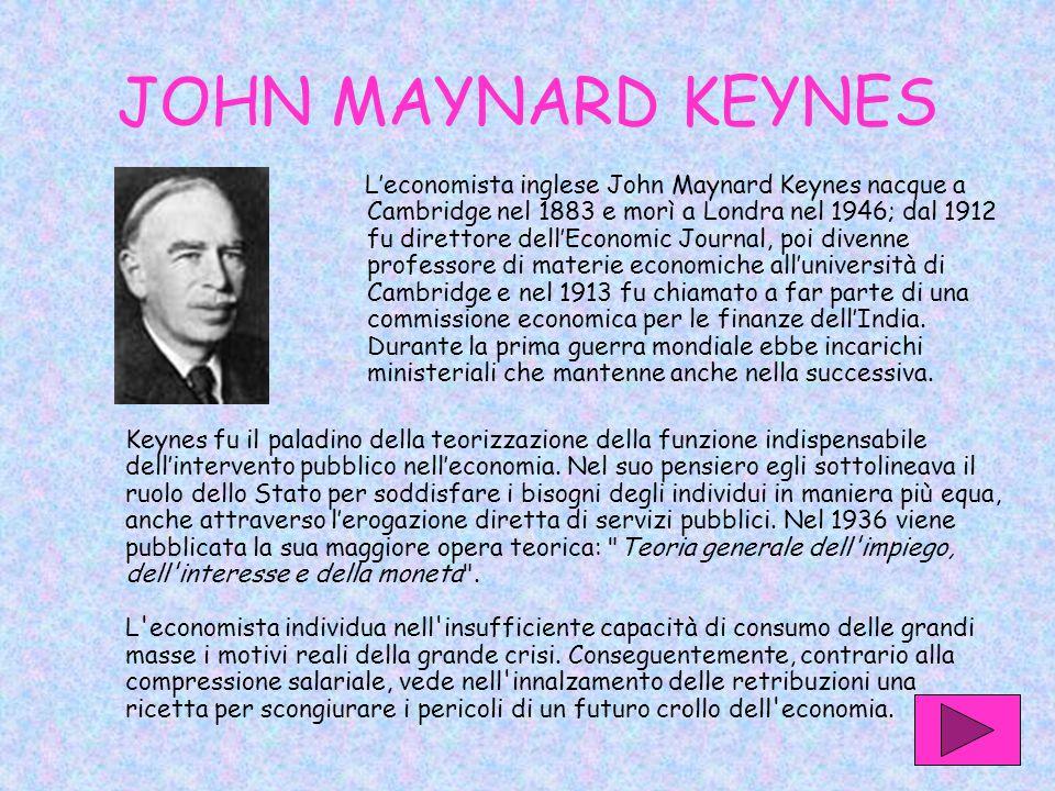 JOHN MAYNARD KEYNES L'economista inglese John Maynard Keynes nacque a Cambridge nel 1883 e morì a Londra nel 1946; dal 1912 fu direttore dell'Economic Journal, poi divenne professore di materie economiche all'università di Cambridge e nel 1913 fu chiamato a far parte di una commissione economica per le finanze dell'India.