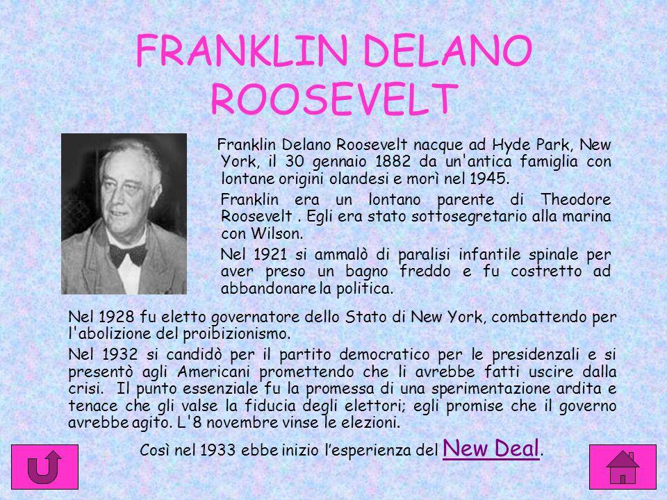 FRANKLIN DELANO ROOSEVELT Franklin Delano Roosevelt nacque ad Hyde Park, New York, il 30 gennaio 1882 da un antica famiglia con lontane origini olandesi e morì nel 1945.
