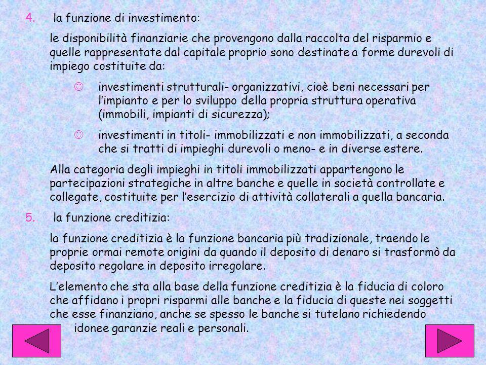 4. la funzione di investimento: le disponibilità finanziarie che provengono dalla raccolta del risparmio e quelle rappresentate dal capitale proprio s