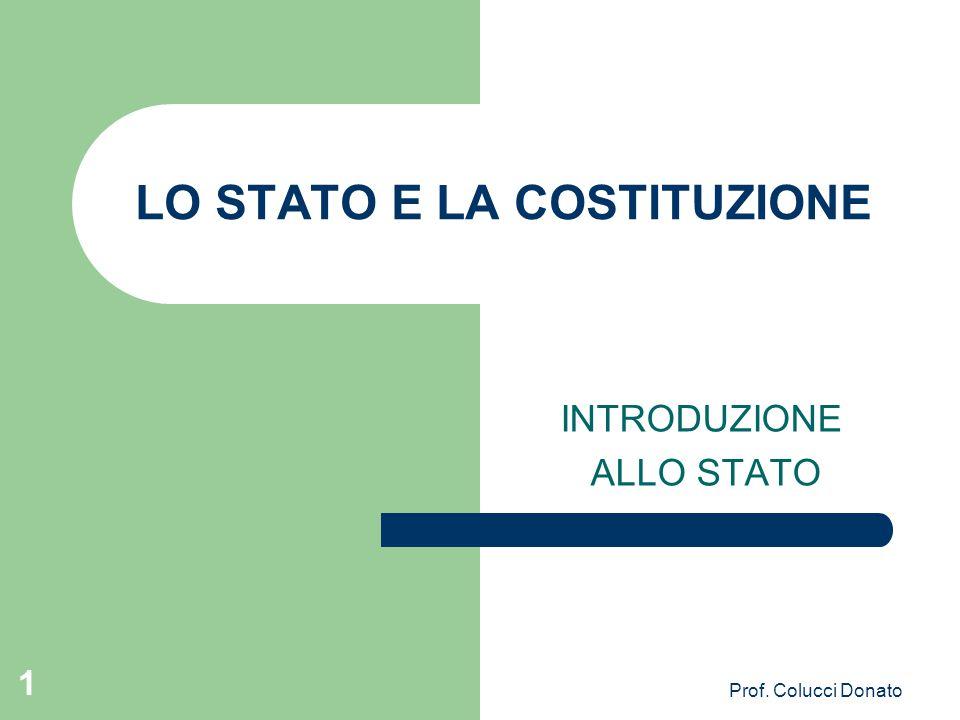LO STATO E LA COSTITUZIONE INTRODUZIONE ALLO STATO 1 Prof. Colucci Donato