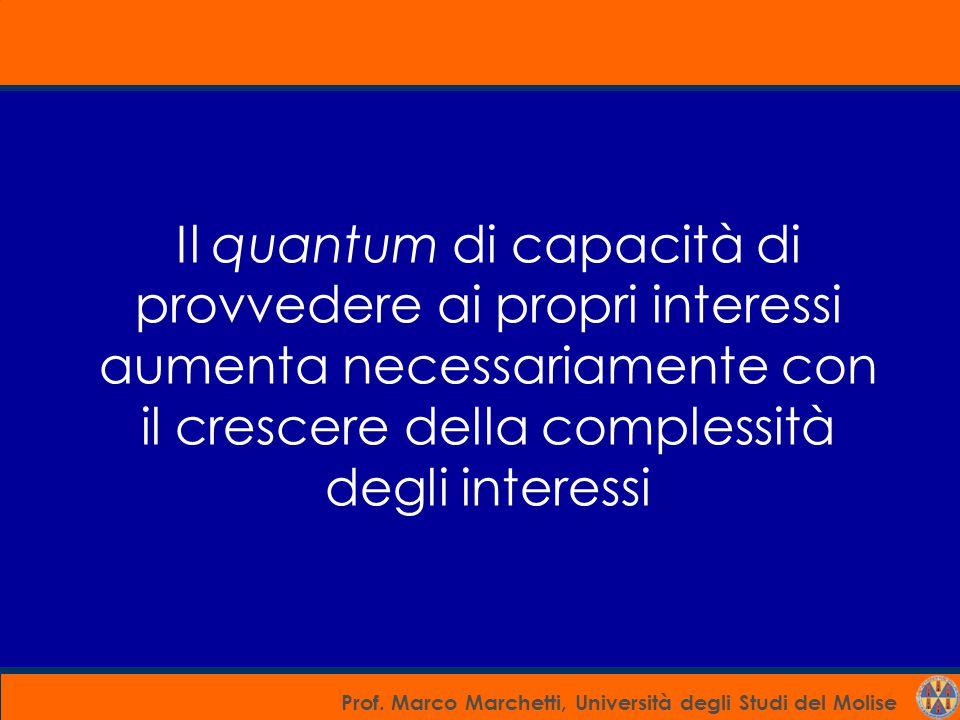 Prof. Marco Marchetti, Università degli Studi del Molise Il quantum di capacità di provvedere ai propri interessi aumenta necessariamente con il cresc