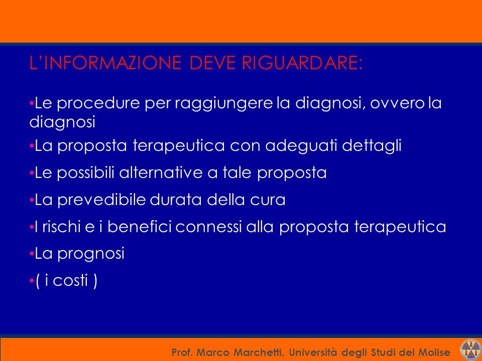 Prof. Marco Marchetti, Università degli Studi del Molise L'INFORMAZIONE DEVE RIGUARDARE: Le procedure per raggiungere la diagnosi, ovvero la diagnosi