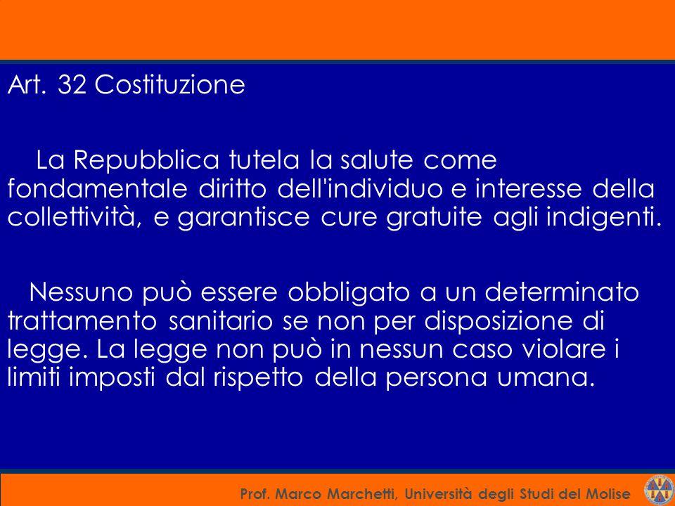 Prof. Marco Marchetti, Università degli Studi del Molise Art. 32 Costituzione La Repubblica tutela la salute come fondamentale diritto dell'individuo