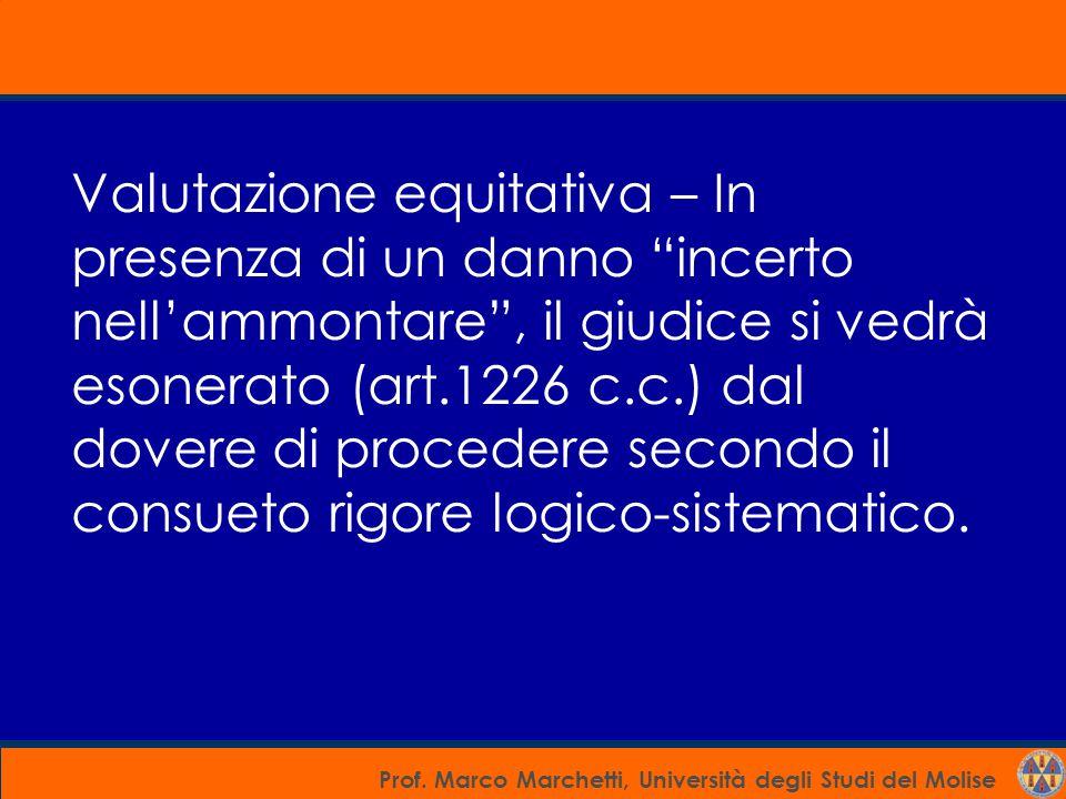 """Prof. Marco Marchetti, Università degli Studi del Molise Valutazione equitativa – In presenza di un danno """"incerto nell'ammontare"""", il giudice si vedr"""