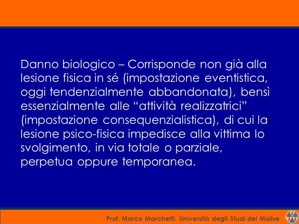 Prof. Marco Marchetti, Università degli Studi del Molise Danno biologico – Corrisponde non già alla lesione fisica in sé (impostazione eventistica, og