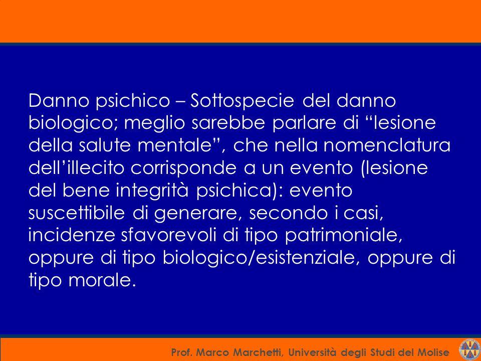 """Prof. Marco Marchetti, Università degli Studi del Molise Danno psichico – Sottospecie del danno biologico; meglio sarebbe parlare di """"lesione della sa"""
