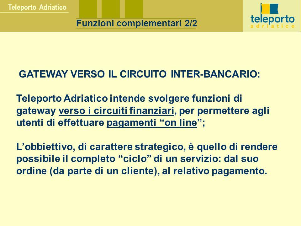 GATEWAY VERSO IL CIRCUITO INTER-BANCARIO: Teleporto Adriatico intende svolgere funzioni di gateway verso i circuiti finanziari, per permettere agli ut