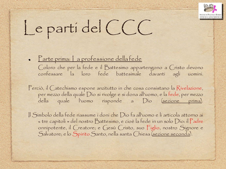Le parti del CCC Parte prima: La professione della fede Coloro che per la fede e il Battesimo appartengono a Cristo devono confessare la loro fede bat