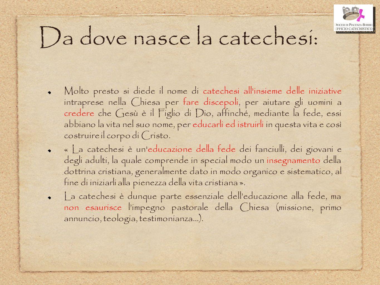 Da dove nasce la catechesi: Molto presto si diede il nome di catechesi all'insieme delle iniziative intraprese nella Chiesa per fare discepoli, per ai