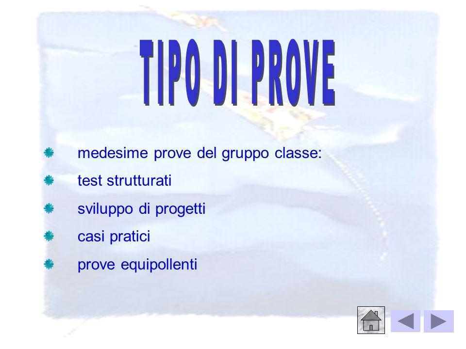 Ø prove strutturate di preesame ( ultime 2 ‑ 3 settimane dell'anno scolastico ), svolte contemporaneamente al resto della classe Ø esame di qualifica