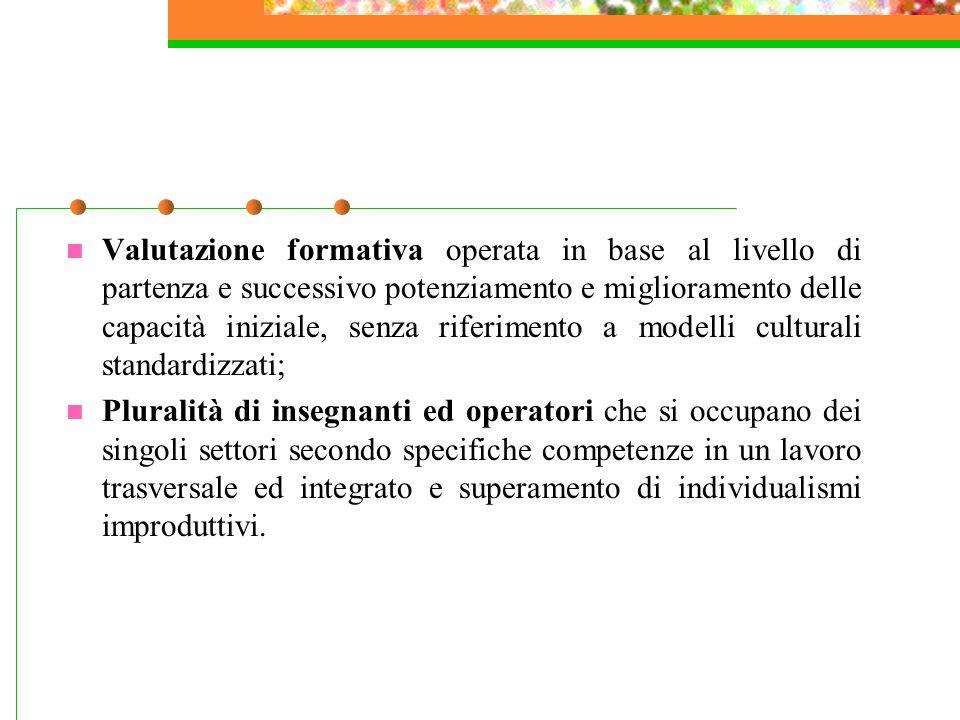Caratteristiche di una programmazione Assenza di una gerarchia tra le attività prevalentemente intellettive e le attività integrative; Attenzione nei