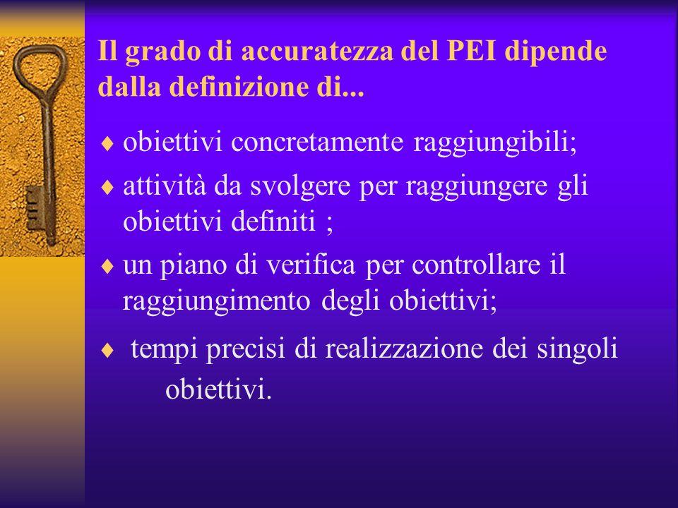 Il Piano Educativo Individualizzato  I partecipanti alla definizione :  A norma dell'Art.12 Legge 104/92 il PEI deve essere redatto da:  operatori