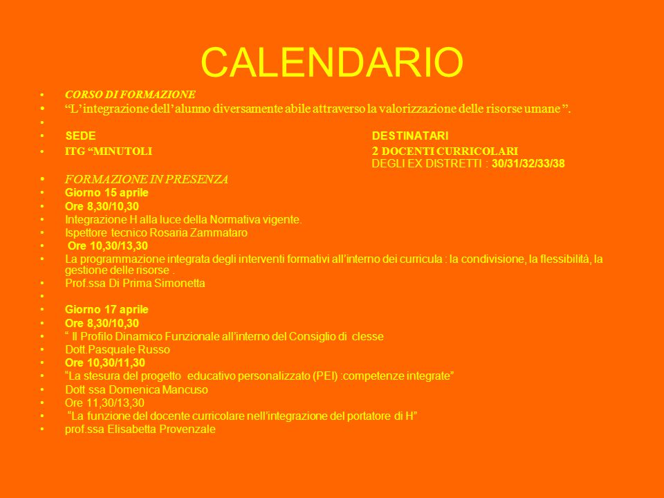 Lettera Circolare n°139/2001 Nota Ministeriale n°186/2002 Nota Ministeriale n°81/2002  Flessibilità: Articolazione delle classi in gruppi Tempo didattico flessibile Tempo didattico flessibile Utilizzo mirato delle tecnologie Utilizzo mirato delle tecnologie  Responsabilità:Il POF va progettato per tutti gli alunni compresi i disabili La corresponsabilità è di tutti i docenti La corresponsabilità è di tutti i docenti  Integrazione: Sviluppare il lavoro di integrazione in rete con gli altri servizi del territorio.Le reti di scuole con gli altri servizi del territorio.Le reti di scuole avvieranno patti territoriali di responsabilità .