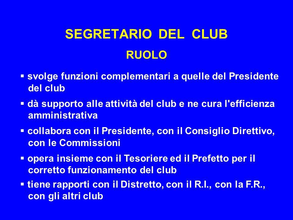 SEGRETARIO DEL CLUB RUOLO  svolge funzioni complementari a quelle del Presidente del club  dà supporto alle attività del club e ne cura l efficienza amministrativa  collabora con il Presidente, con il Consiglio Direttivo, con le Commissioni  opera insieme con il Tesoriere ed il Prefetto per il corretto funzionamento del club  tiene rapporti con il Distretto, con il R.I., con la F.R., con gli altri club