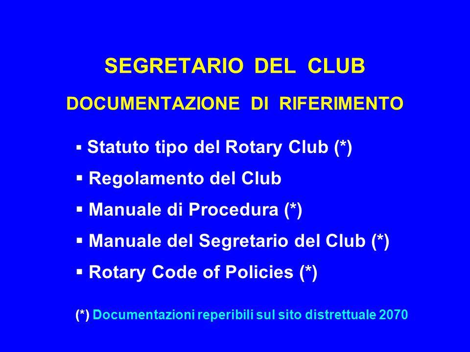 SEGRETARIO DEL CLUB DOCUMENTAZIONE DI RIFERIMENTO  Statuto tipo del Rotary Club (*)  Regolamento del Club  Manuale di Procedura (*)  Manuale del Segretario del Club (*)  Rotary Code of Policies (*) (*) Documentazioni reperibili sul sito distrettuale 2070